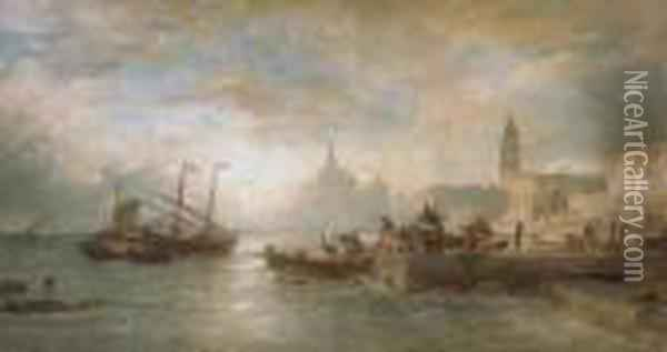 Venice At Dawn Oil Painting - Andreas Achenbach