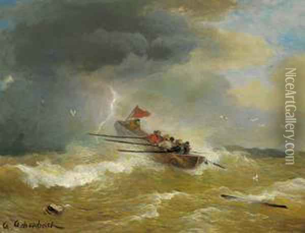 Mare In Tempesta Oil Painting - Andreas Achenbach