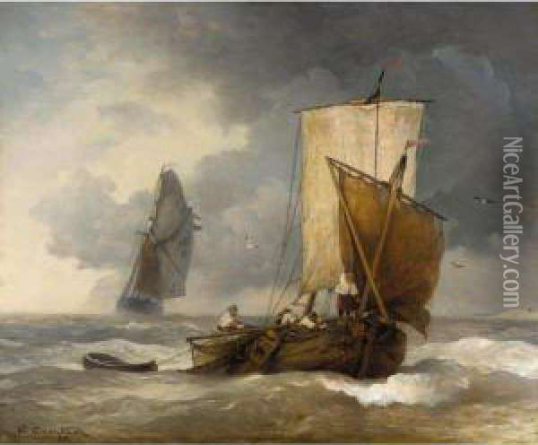 Fischkutter Auf Sturmischer See (fishing Boats In Stormy Seas) Oil Painting - Andreas Achenbach