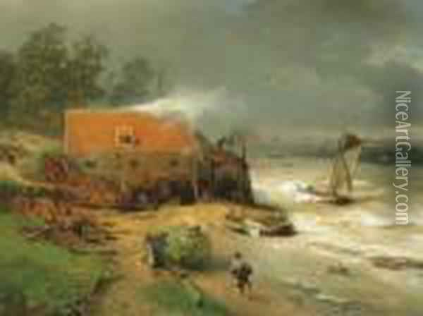 The Boat Wharf Oil Painting - Andreas Achenbach
