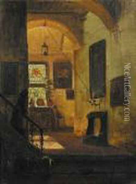 A Sunlit Interior With A Servant Coming Down The Stairs Oil Painting - Andreas Achenbach