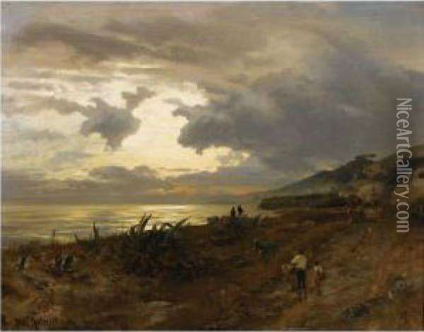 Die Amalfikuste (the Amalfi Coast) Oil Painting - Oswald Achenbach