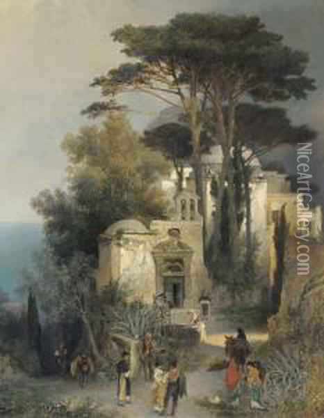 Villagers By A Square In Southern Italy Oil Painting - Oswald Achenbach