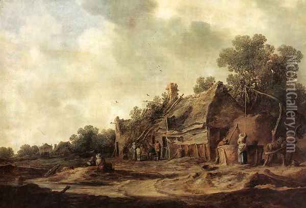 Peasant Huts with a Sweep Well 1633 Oil Painting - Jan van Goyen
