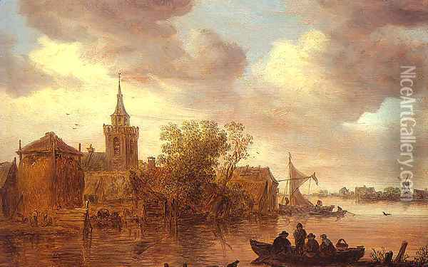 A Church and a Farm on the Bank of a River 1653 Oil Painting - Jan van Goyen