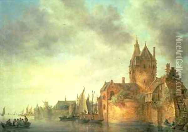 A castle by a river with shipping at a quay Oil Painting - Jan van Goyen