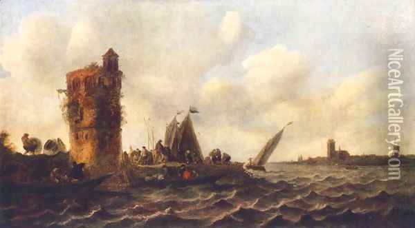 A View on the Maas near Dordrecht 1643 Oil Painting - Jan van Goyen