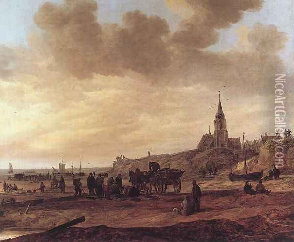 Beach at Scheveningen 1646 Oil Painting - Jan van Goyen