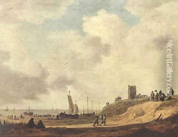 Seashore at Scheveningen 1645 Oil Painting - Jan van Goyen