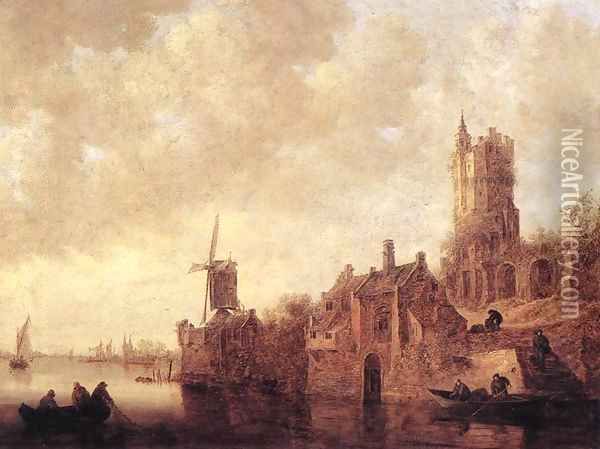River Landscape with a Windmill and a Ruined Castle 1644 Oil Painting - Jan van Goyen
