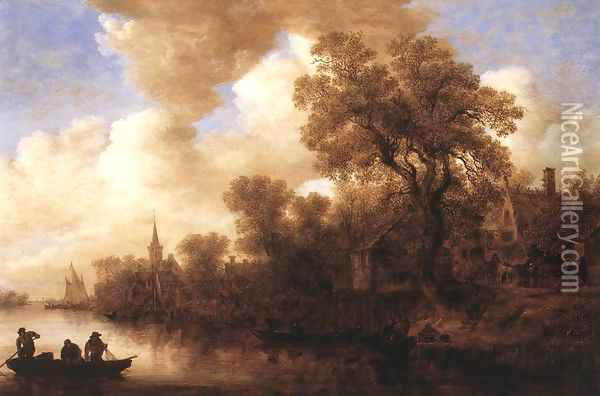 River Scene 1652 Oil Painting - Jan van Goyen