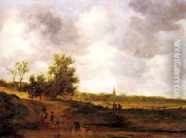 A rural landscape with peasants and a drover by a track, a village beyond Oil Painting - Jan van Goyen