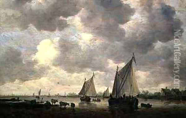 A Canal in Holland or Two Large Sailing Ships and Cattle Near a River Oil Painting - Jan van Goyen