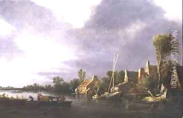 A Village by a River with Peasants and Cattle on a Ferry Oil Painting - Jan van Goyen