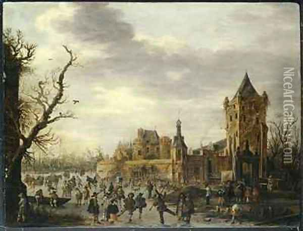 A View of Kasteel Batestein Vianen in Winter with a Gentleman, his Wife and Retinue Watching Winter Sports on the Ice Oil Painting - Jan van Goyen