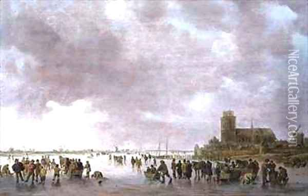 A Winter Landscape with Figures Skating on the Ice Oil Painting - Jan van Goyen