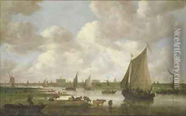 A View of Leiden from the North East Oil Painting - Jan van Goyen