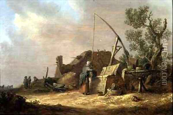 Landscape with a woman at a well Oil Painting - Jan van Goyen