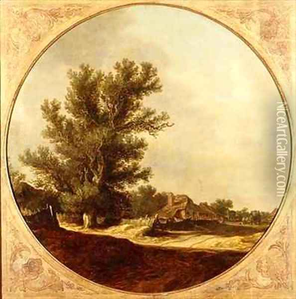 Oak Tree on a Country Lane with Travellers Oil Painting - Jan van Goyen