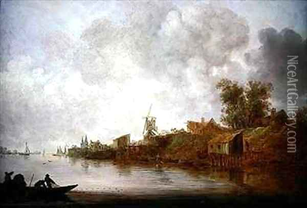 A river landscape with fishermen hauling their nets Oil Painting - Jan van Goyen