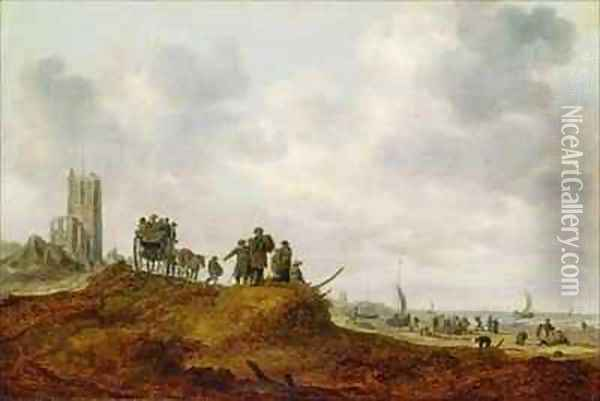 The Old Church at Egmond aan Zee Oil Painting - Jan van Goyen