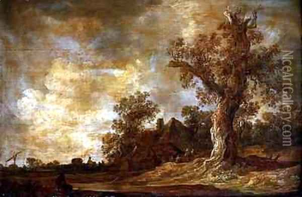 Wooded landscape with figures and oak tree Oil Painting - Jan van Goyen