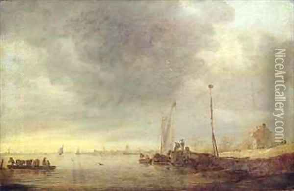 Landscape with River and Ferry Oil Painting - Jan van Goyen