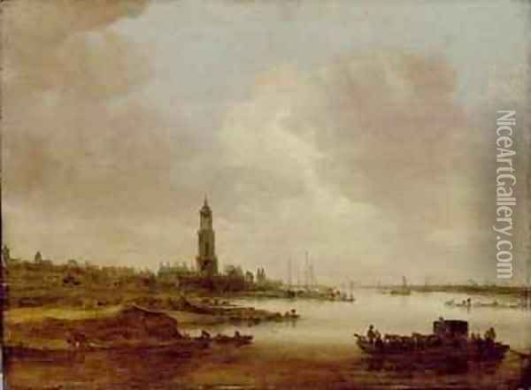 View from Rhenen from the West Oil Painting - Jan van Goyen