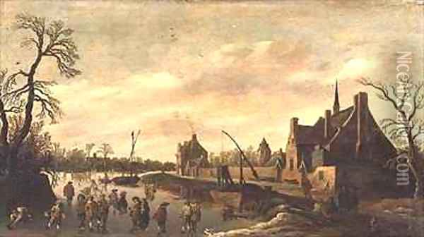 Frozen River Landscape with Skaters Oil Painting - Jan van Goyen