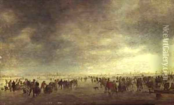 Skaters Oil Painting - Jan van Goyen