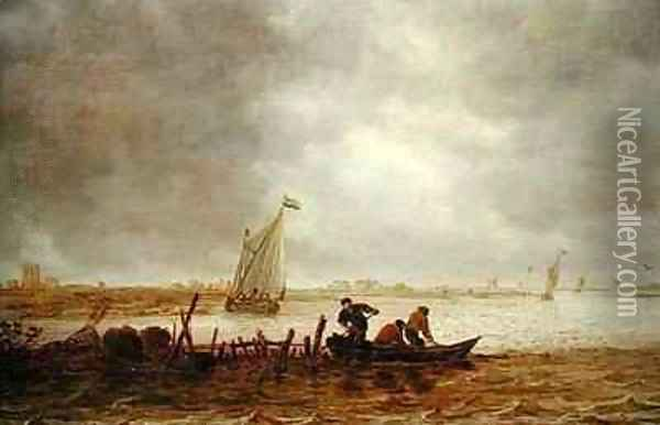 View of an Estuary with a Fishing Boat Oil Painting - Jan van Goyen