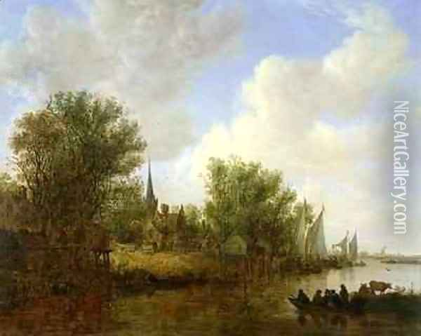 River scene with a View of Overschie Oil Painting - Jan van Goyen