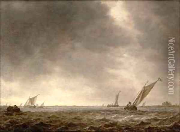 Fishing Smacks in a Squall at the Mouth of a River Oil Painting - Jan van Goyen