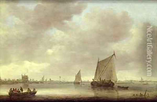 Shipping on the Kil with Oude Wachthuis and the Grote Kerk Dordrecht beyond Oil Painting - Jan van Goyen