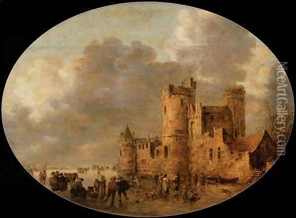 Skaters in front of a Medieval Castle Oil Painting - Jan van Goyen