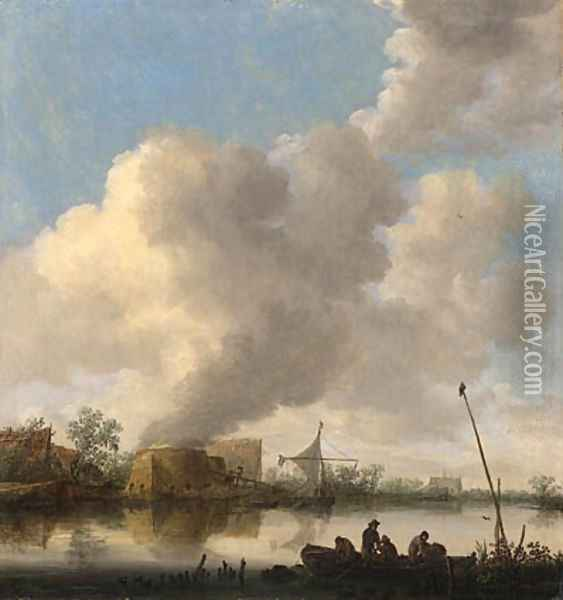 A river landscape with fishermen in a rowing boat, a lime kilm, farmhouses and a church beyond Oil Painting - Jan van Goyen