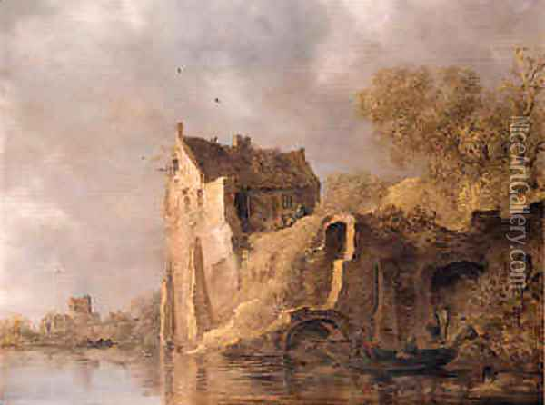 Fishermen in a rowingboat by a landing stage near a ruined castle on a cloudy day Oil Painting - Jan van Goyen