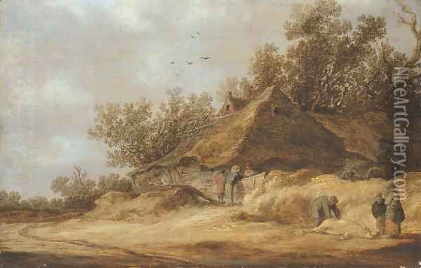 A dune landscape with peasants conversing by a farm and others standing by a dead boar on a sandy road Oil Painting - Jan van Goyen