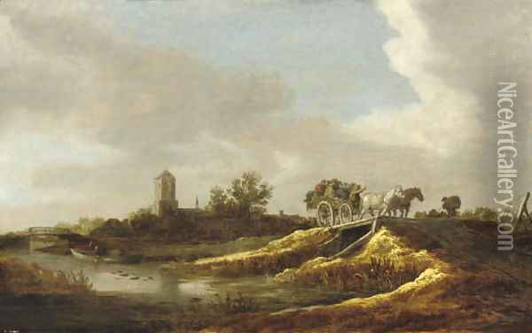 A river landscape with figures in a horse-drawn cart crossing a bridge, a village with a church beyond Oil Painting - Jan van Goyen