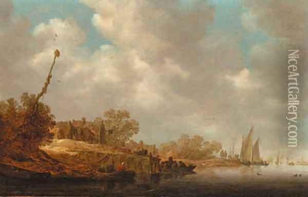 A river landscape with fishermen in boats and a ferry by a village jetty Oil Painting - Jan van Goyen