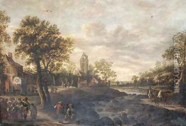A river landscape with travellers approaching a village Oil Painting - Jan van Goyen