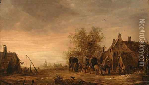 A view of the village of Renkum, with travellers in wagons resting on the roadside by an inn, the church beyond Oil Painting - Jan van Goyen