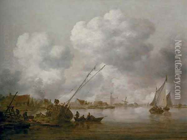An estuary with a small schip being caulked in the foreground Oil Painting - Jan van Goyen