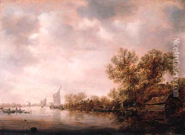 Peasants and cattle on a ferry with fishermen in rowing boats nearby, on a cloudy day Oil Painting - Jan van Goyen