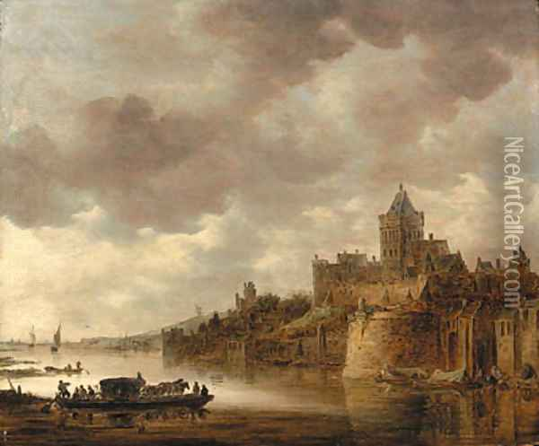 The Valkhof at Nijmegen with a coach and horses on a ferry on the River Waal Oil Painting - Jan van Goyen