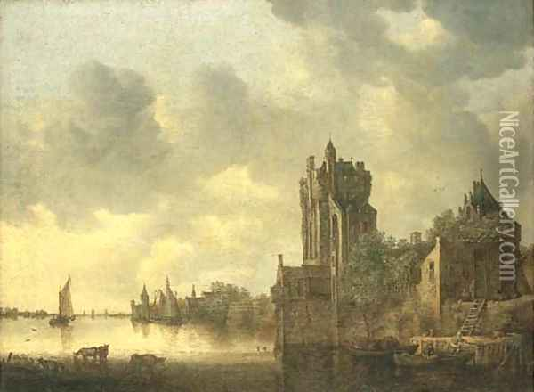 A river landscape with cows watering by a fortified tower Oil Painting - Jan van Goyen