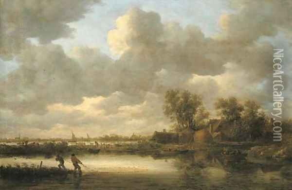 A river landscape with fishermen drawing in their nets near a village Oil Painting - Jan van Goyen