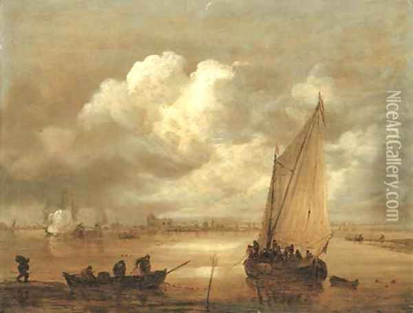A river landscape with fishermen drawing in their nets, a town beyond Oil Painting - Jan van Goyen