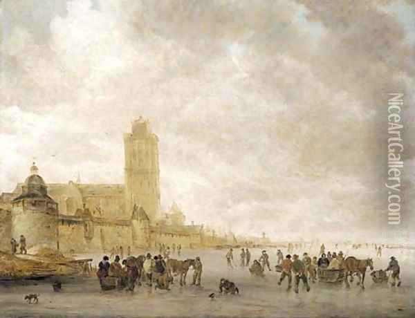 A winter landscape with skaters on the Maas in Dordrecht Oil Painting - Jan van Goyen
