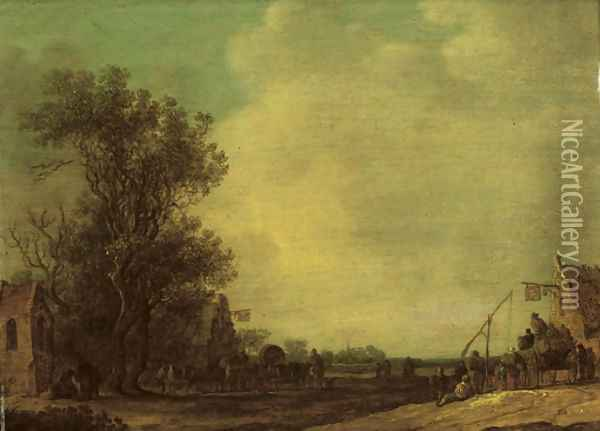 A wooded landscape with travellers outside an inn Oil Painting - Jan van Goyen